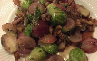 Browned Brussels Sprouts with Grapes and Walnuts