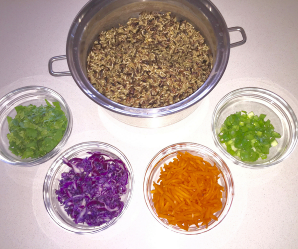 Asian Wild Rice Salad Mise en Place of the salad