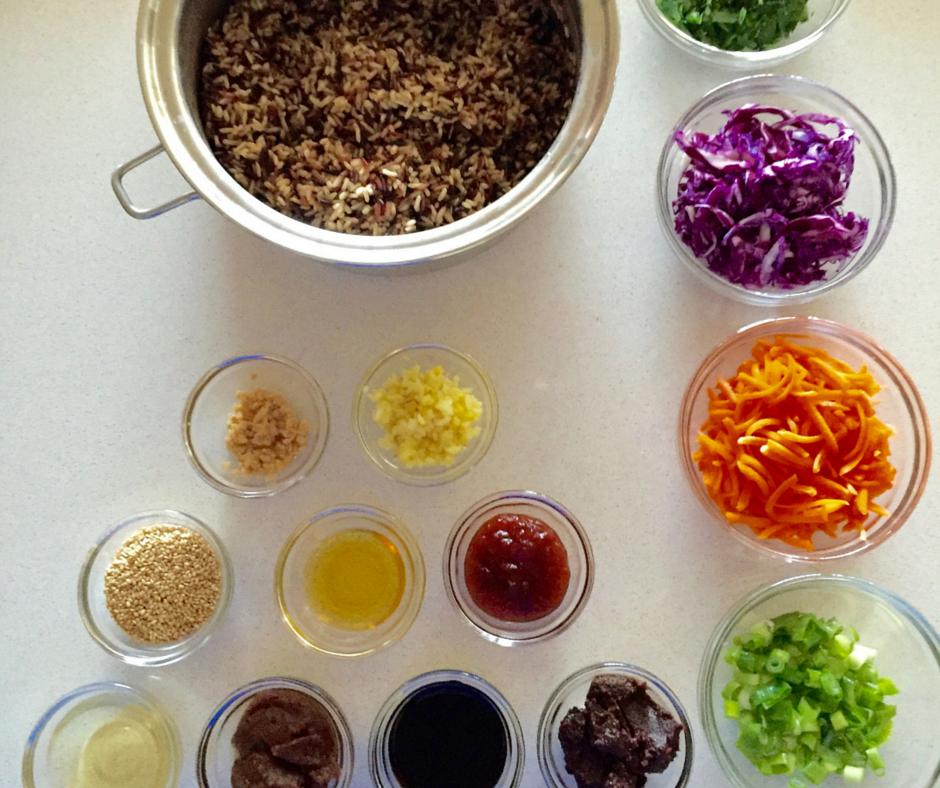 Asian Wild Rice Salad Mise en Place